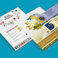 Sample printed flyers and postcards