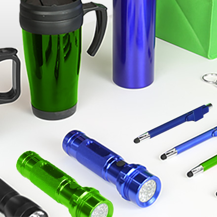 Drinkware, pens, flashlights that can be personalized