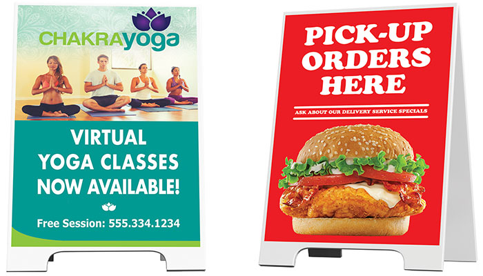 Two A-Frame signs offering virtual yoga classes and food pickup.
